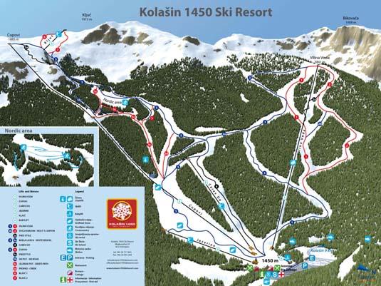 Колашин / Kolasin горнолыжный курорт Черногории. Карта склона